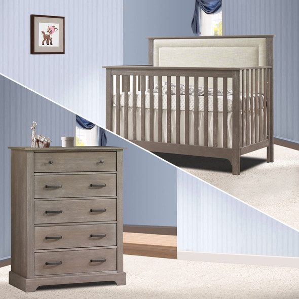 Nest Emerson Collection 2 Piece Nursery Set Crib with Talc Upl. Panel and 5 Drawer Dresser in Owl
