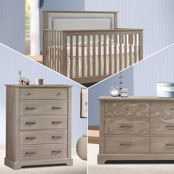 Nest Emerson Collection 3 Piece Nursery Set with Fog Upl. Panel in Sugar Cane