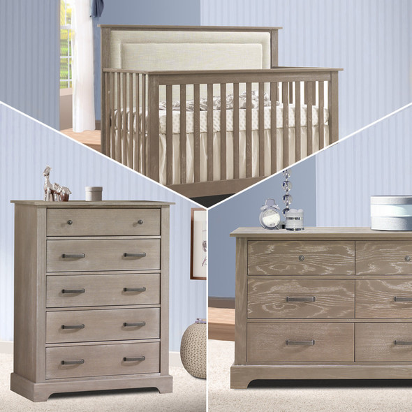 Nest Emerson Collection 3 Piece Nursery Set with Talc Upl. Panel in Sugar Cane