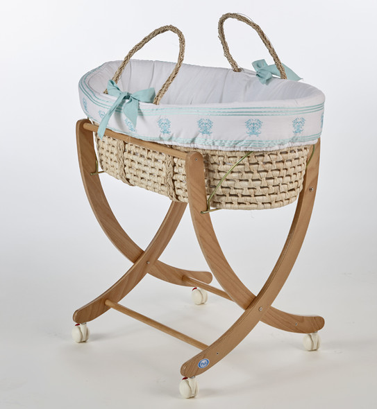 Pali Isabella D'Este Moses Basket in Mint and Natural