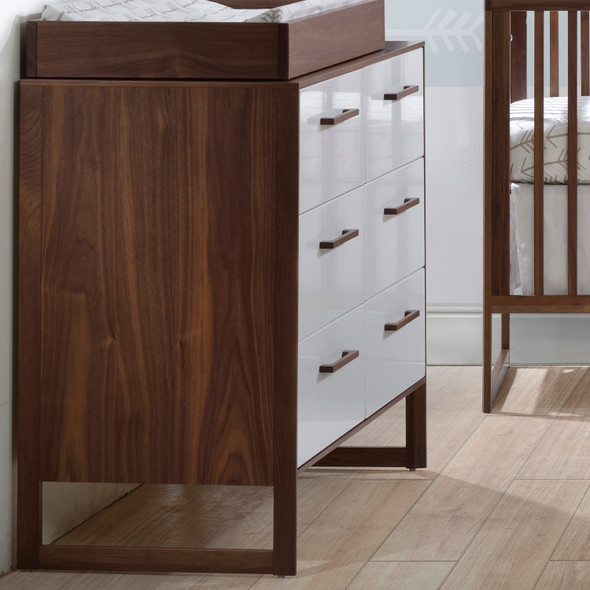 Tulip Rio Double Dresser in Walnut/Glossy White