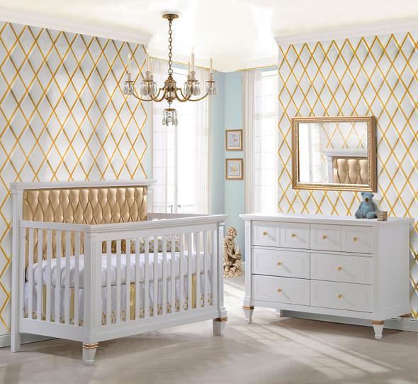 Natart Belmont Gold 2 Piece Nursery Set Crib and Double Dresser