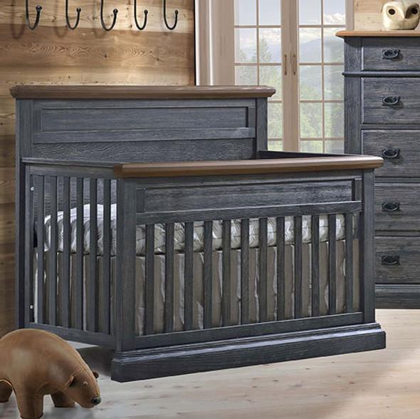 Natart Cortina Convertible Crib in Black Chalet/Cognac