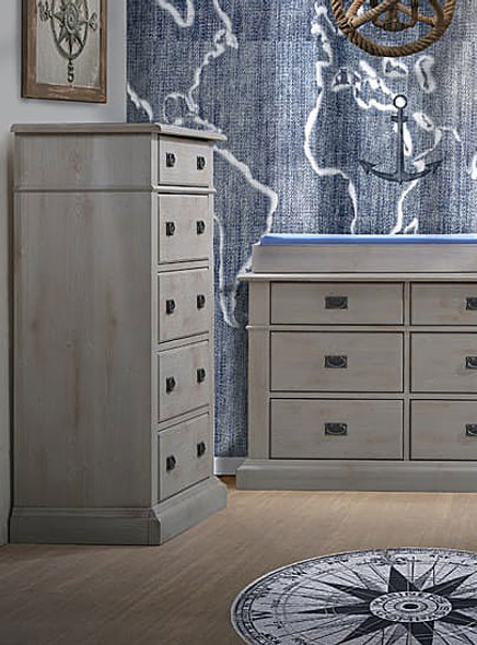 Natart Cortina 5 Drawer Dresser in Grey Chalet