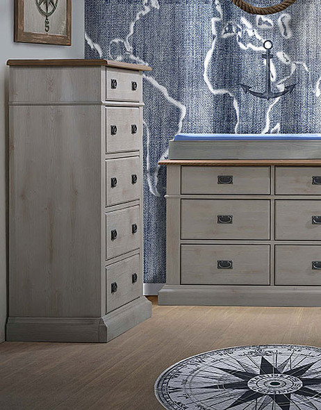 Natart Cortina 5 Drawer Dresser in Grey Chalet/Cognac