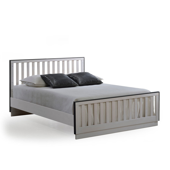 "Natart Sevilla Double Bed 54"" w/ Low Profile Footboard and Rails in White Chalet"