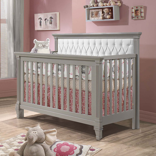 Natart Belmont Convertible Crib in Elephant Grey with White Tufted Panel