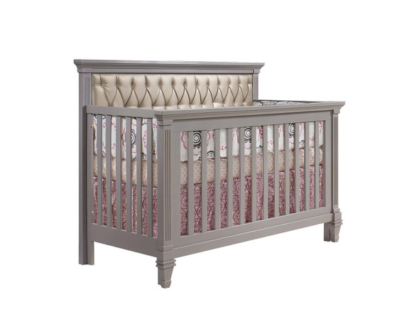 Natart Belmont Convertible Crib in Elephant Grey with Platinum Tufted Panel