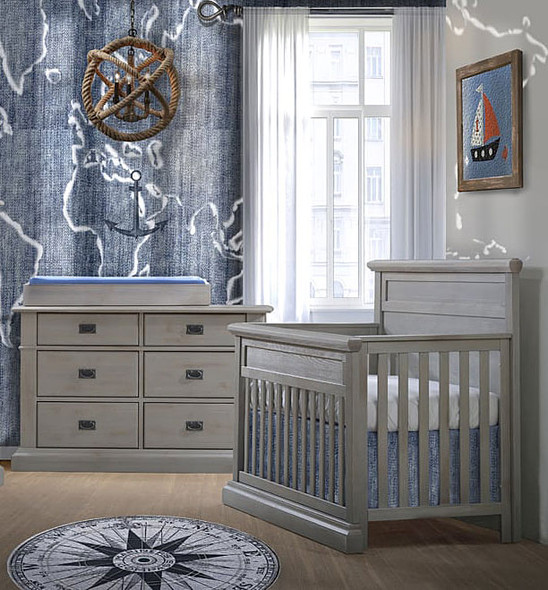 Natart Cortina 2 Piece Nursery Set in Grey Chalet-Crib and Double Dresser