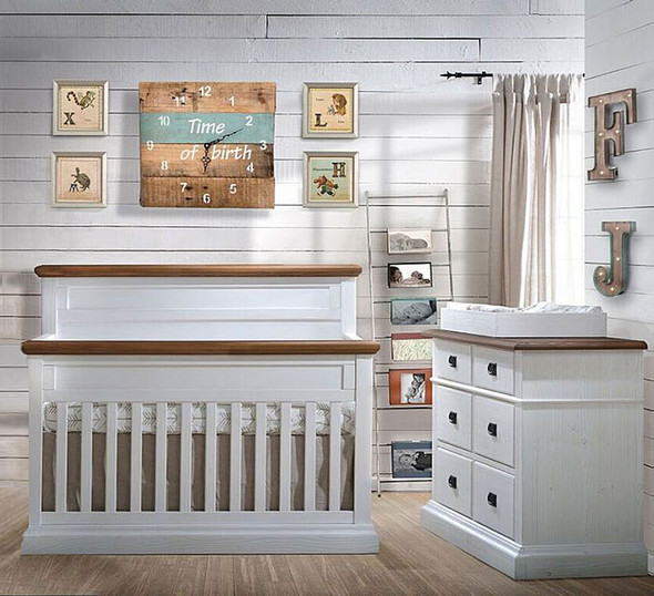 Natart Cortina 2 Piece Nursery Set in White Chalet/Cognac-Crib and Double Dresser