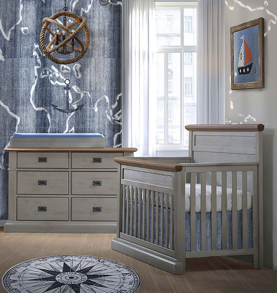 Natart Cortina 2 Piece Nursery Set in Grey Chalet/Cognac-Crib and Double Dresser