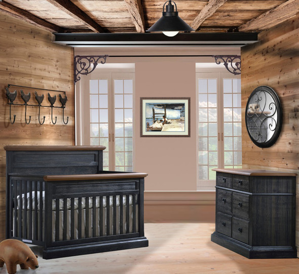 Natart Cortina 2 Piece Nursery Set in Black Chalet/Cognac-Crib and Double Dresser