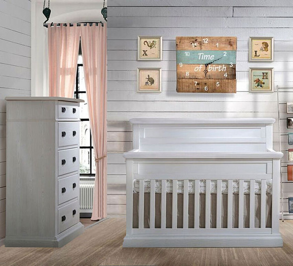 Natart Cortina 2 Piece Nursery Set in White Chalet-Crib and 5 Drawer Dresser