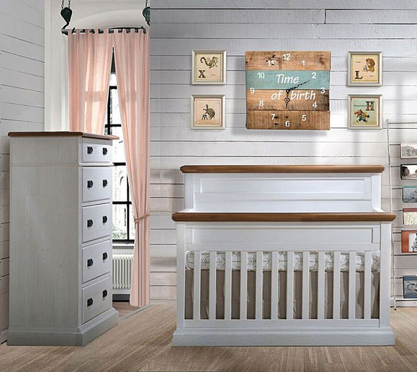 Natart Cortina 2 Piece Nursery Set in White Chalet/Cognac-Crib and 5 Drawer Dresser