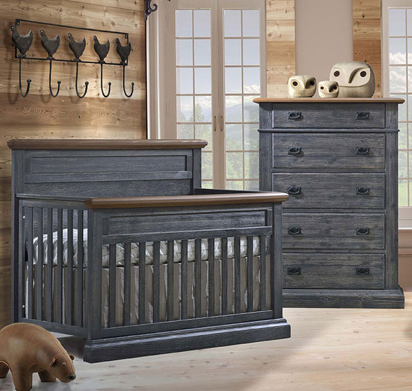Natart Cortina 2 Piece Nursery Set in Black Chalet/Cognac-Crib and 5 Drawer Dresser
