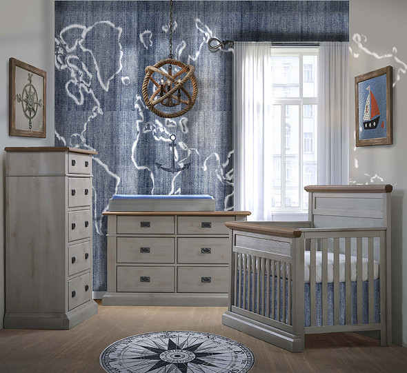 Natart Cortina 3 Piece Nursery Set in Grey Chalet/Cognac