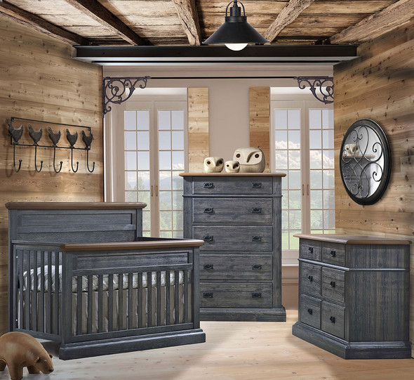 Natart Cortina 3 Piece Nursery Set in Black Chalet/Cognac
