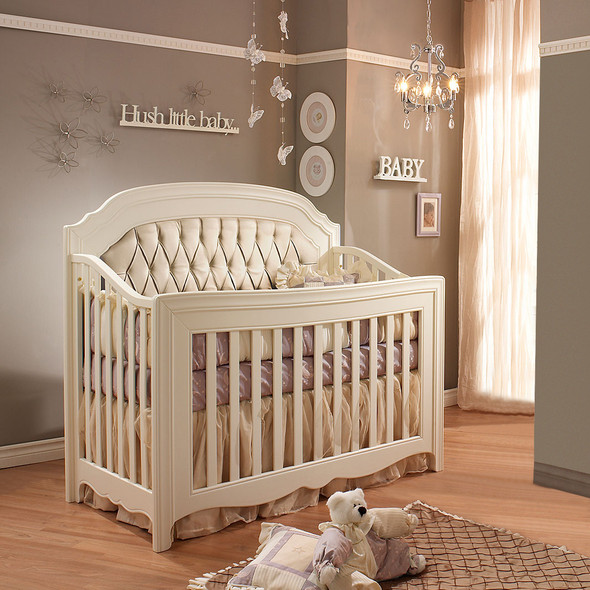 Natart Allegra Collection Convertible Crib in French White with Platinum Panel
