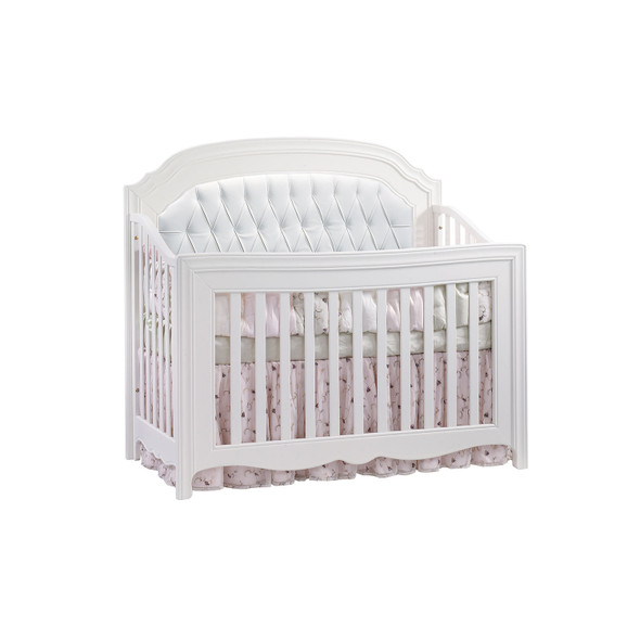 Natart Allegra Gold Collection Convertible Crib in White with White Panel