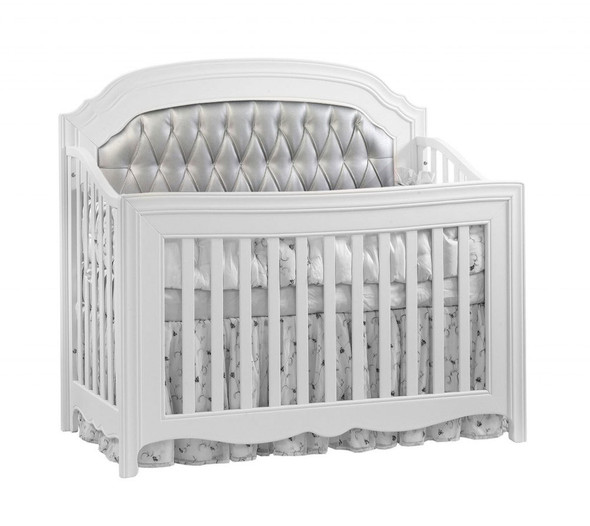Natart Allegra Gold Collection Convertible Crib in White with Silver Panel