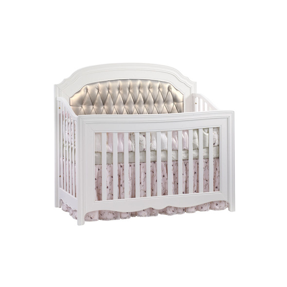 Natart Allegra Gold Collection Convertible Crib in White with Platinum Panel