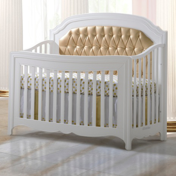 Natart Allegra Gold Collection Convertible Crib in White with Gold Panel