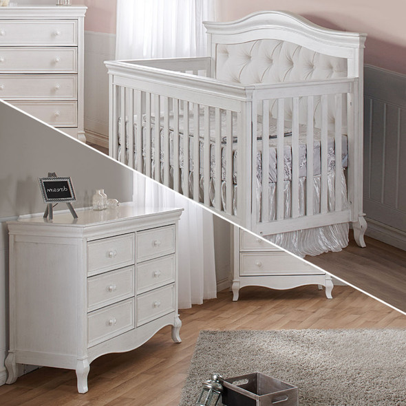 Pali Diamante Collection 2 Piece Nursery Set-Convertible Crib and Double Dresser