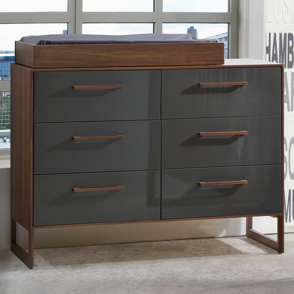 Tulip Rio Double Dresser in Walnut/Glossy Granite