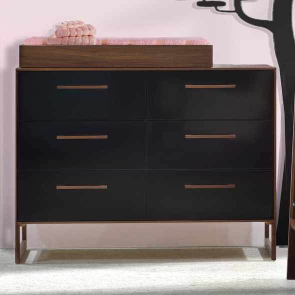 Tulip Rio Double Dresser in Walnut/Glossy Black