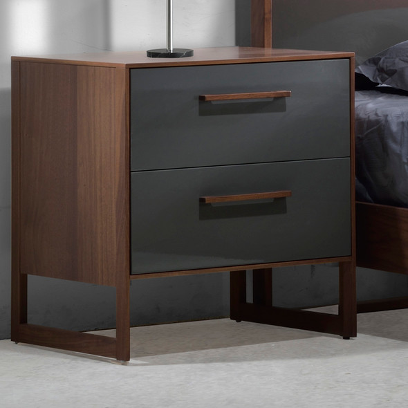 Tulip Rio Nightstand in Walnut/Glossy Granite