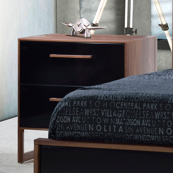 Tulip Rio Nightstand in Walnut/Glossy Black