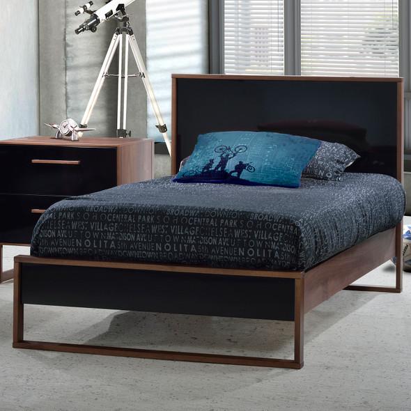 Tulip Rio Twin Bed in Walnut/Glossy Black