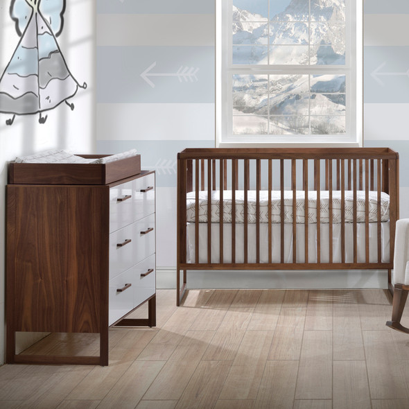 Tulip Rio 2 Piece Nursery Crib and Double Dresser in Walnut/Glossy White