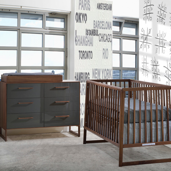 Tulip Rio 2 Piece Nursery Crib and Double Dresser in Walnut/Glossy Granite