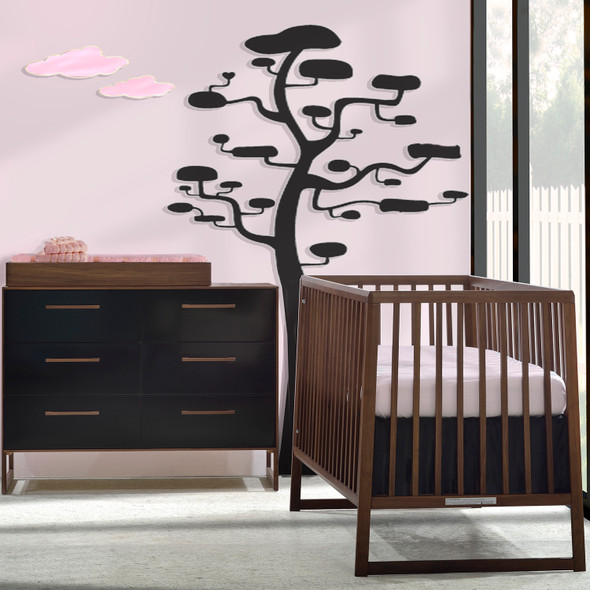 Tulip Rio 2 Piece Nursery Crib and Double Dresser in Walnut/Glossy Black