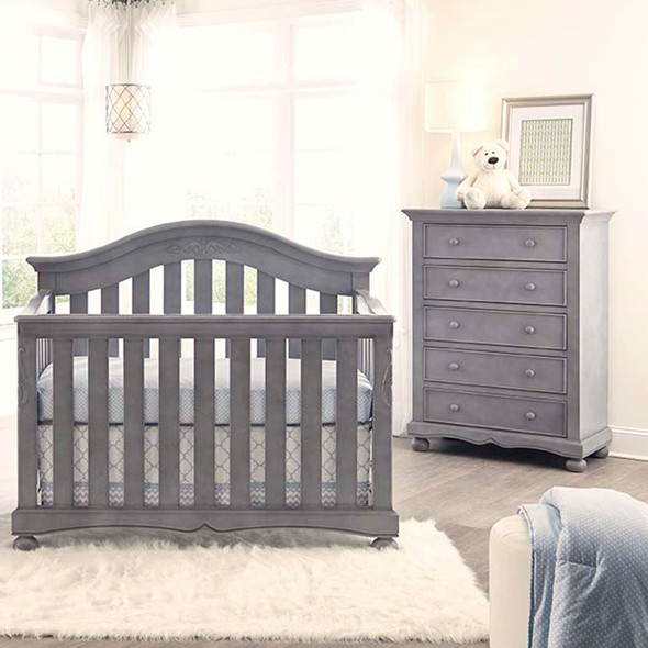 Westwood Meadowdale Collection 2 Piece Nursery Set in Cloud-Crib and 5 Drawer Chest