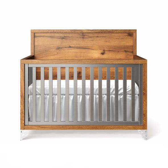 Romina Pandora Collection Convertible Crib with Oak Panel Headboard in Argento