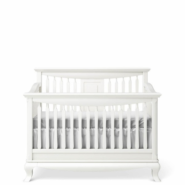 Romina Antonio Collection Convertible Crib with Slatted Headboard in Solid White