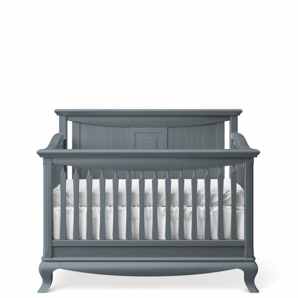 Romina Antonio Collection Convertible Crib with Solid Panel Headboard in Washed Grey