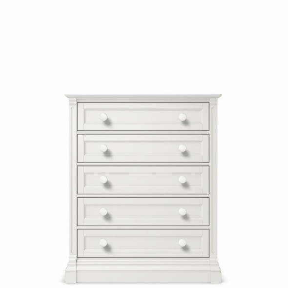 Romina Imperio Collection 5 Drawer Chest in Solid White