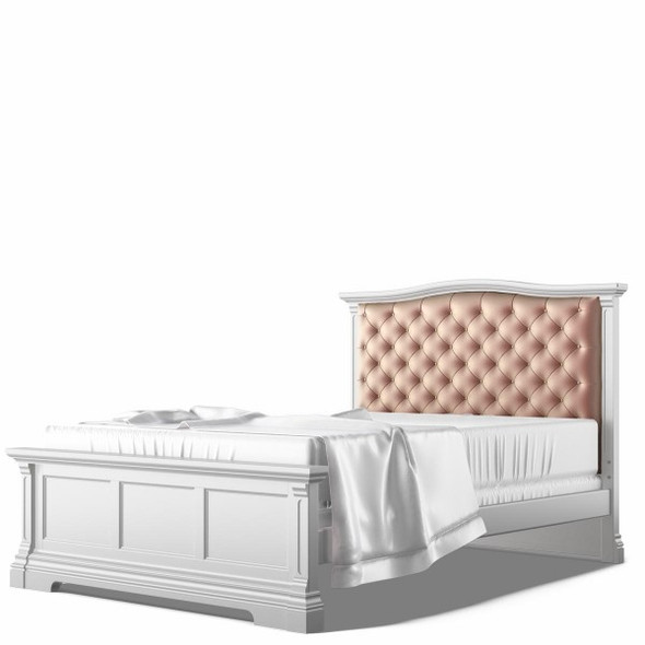 Romina Imperio Collection Full Bed with Tufted Headboard in Solid White
