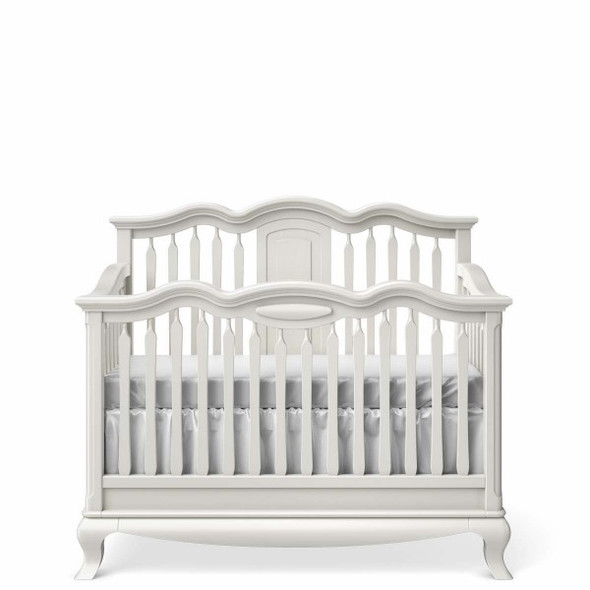 Romina Cleopatra Collection Convertible Crib w/ Slatted Headboard in Solid White