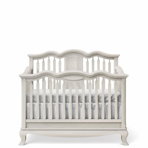 Romina Cleopatra Collection Convertible Crib w/ Slatted Headboard in Washed White