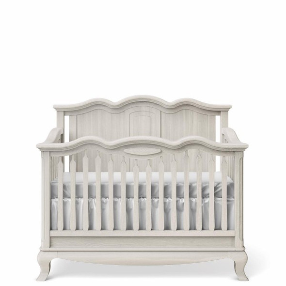 Romina Cleopatra Collection Crib w/ Solid Panel Headboard in Washed White
