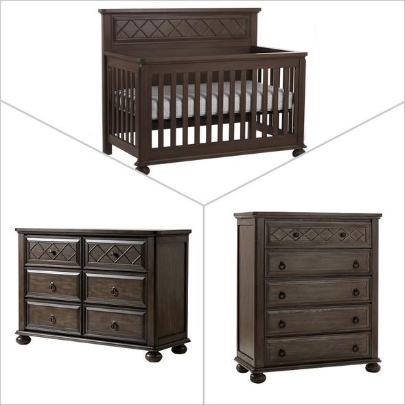 Pali Vittoria Collection 3 Piece Nursery Set in Distressed Desert - Crib, Double Dresser, 5 Drawer Dresser