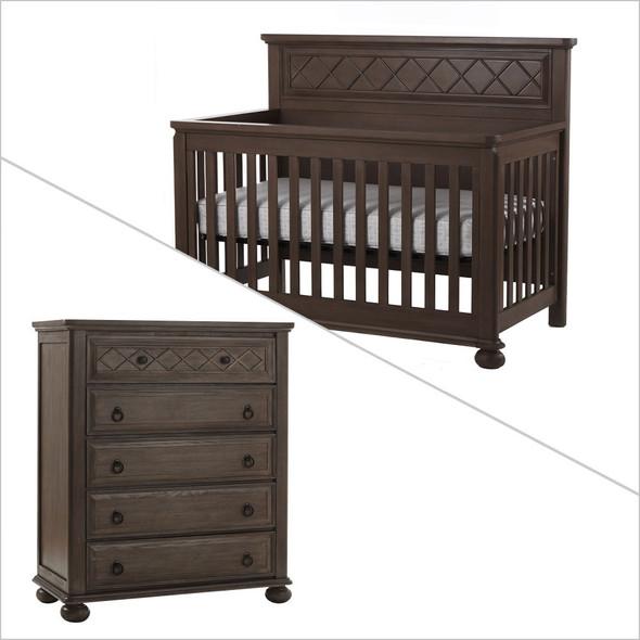 Pali Vittoria Collection 2 Piece Nursery Set in Distressed Desert - Crib and Five Drawer Dresser