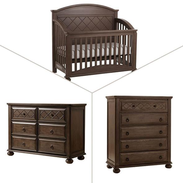Pali Siracusa Collection 3 Piece Nursery Set in Distressed Desert - Crib, Double Dresser, 5 Drawer Dresser