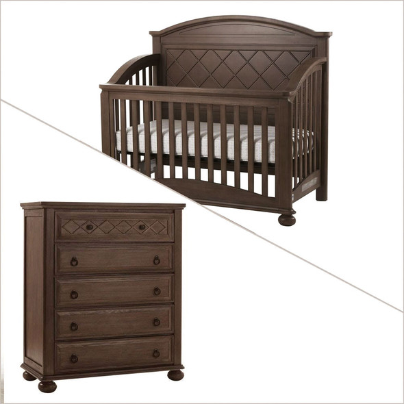Pali Siracusa Collection 2 Piece Nursery Set in Distressed Desert - Crib and Five Drawer Dresser