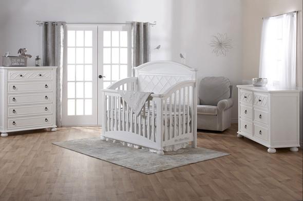 Pali Siracusa Collection 3 Piece Nursery Set in Vintage White - Crib, Double Dresser, 5 Drawer Dresser