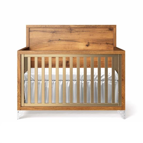 Romina Pandora Collection Convertible Crib with Oak Panel Headboard in Metalic